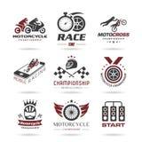 Tävlings- symbolsuppsättning för motorcykel Arkivfoton