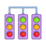 Tävlings- trafikljus symbol, tecknad filmstil Royaltyfri Bild