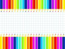 Tło dla teksta Set barwioni ołówki wszystkie kolory tęcza wektor ilustracji