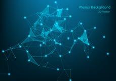 10 tło eps ilustracyjny technologii wektor Plexus skutek Abstrakcjonistyczny poligonalny tło z łączyć kropkuje i wykłada ilustracja wektor