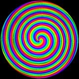 Tło w postaci barwionego okręgu ruszać się po spirali na czerni royalty ilustracja
