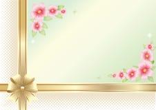 Tło z kwiecistym wzorem i złoty faborek z łękiem dla świątecznego dnia, wektorowy projekt obraz stock