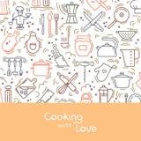 Tło z literowaniem na kuchennym temacie z różnorodność kuchennymi rzeczami ilustracja wektor