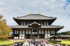 TÅ 戴籍寺庙的(Daibutsu)了不起的菩萨霍尔在奈良 库存照片