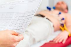 Tålmodig EKG för Doktor kontrolliert i Arztpraxis Royaltyfri Bild