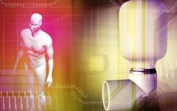 tålmodig för inhaler för astmahuvuddel använda mänskliga stock illustrationer