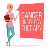 Tålmodig kvinnavektor för kemoterapi Kvinnlig med cancer Medicinskt Oncologyterapibegrepp behandling hårlöst klinik stock illustrationer