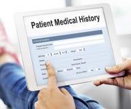 Tålmodigt formbegrepp för medicinsk historia Arkivfoto