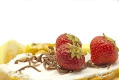 Tårta med äpplen och jordgubbar Royaltyfri Foto