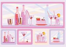 Tårta och drinkar Arkivbilder