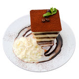 Tårta på vit Arkivfoto