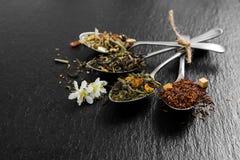 Tè aromatico del fiore in cucchiaio del metallo Fotografia Stock