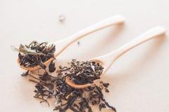 Tè asciutto in cucchiai di legno Fotografie Stock Libere da Diritti