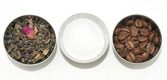 Tè, caffè e zucchero naturali Fotografie Stock