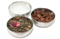 Tè, caffè e zucchero naturali Immagini Stock Libere da Diritti
