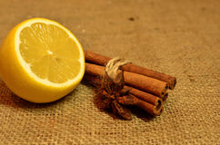 Tè caldo con il limone, la cannella ed il timo Fotografia Stock