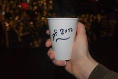 Tè caldo di Christmass in mani Fotografie Stock Libere da Diritti