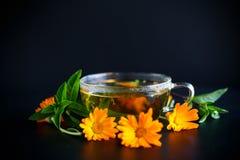 Tè caldo fresco con la calendula fotografia stock libera da diritti