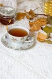 Tè, cannella, mele, miele e anice stellato su un fondo bianco Fotografie Stock
