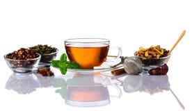 Tè con gli ingredienti isolati Immagini Stock Libere da Diritti