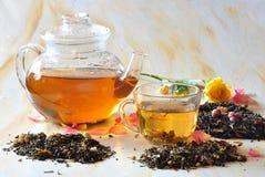 Tè con i petali delle rose Immagini Stock