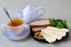 Tè con il formaggio delle pecore Fotografie Stock