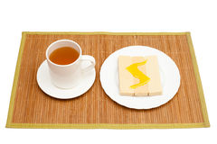 Tè con miele e le cialde Fotografia Stock Libera da Diritti