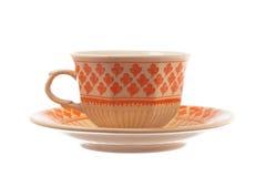 Tè d'annata della porcellana o tazza e piattino di caffè isolati su bianco Immagini Stock Libere da Diritti