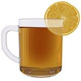 Tè del limone in tazza di vetro Immagine Stock