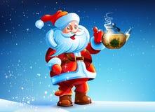 Tè della bevanda di offerte di Santa Claus Fotografia Stock Libera da Diritti
