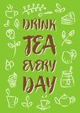 Tè della bevanda ogni illustrazione di vettore di giorno Immagine Stock Libera da Diritti