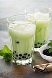 Tè della bolla di Matcha fotografia stock