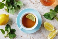 Tè della melissa con miele fotografia stock