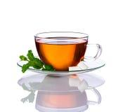 Tè della menta isolato su bianco Fotografia Stock