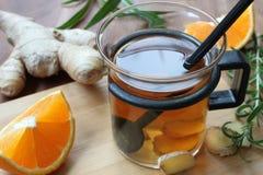 Tè dello zenzero con l'arancia Immagini Stock