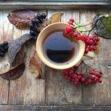 Tè di autunno su un fondo rustico Fotografia Stock Libera da Diritti