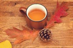 Tè di autunno in tazza d'annata marrone sulla vecchia tavola di legno rustica con le foglie e la conca di autunno fotografia stock