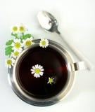 Tè di camomilla in tazza metallica Immagine Stock Libera da Diritti