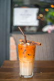 Tè di ghiaccio tailandese con cannella Immagine Stock