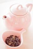 Tè di Oolong in tazza e barattolo ceramici Fotografia Stock Libera da Diritti