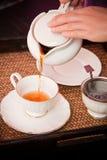 Tè di versamento nella tazza di tè Immagini Stock