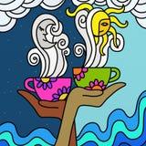 Tè e caffè di camomilla illustrazione vettoriale