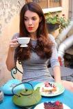 Tè e dolce Fotografia Stock Libera da Diritti
