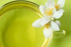 Tè e fiori del gelsomino Fotografia Stock