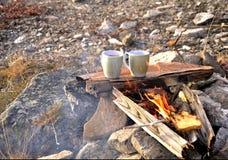 Tè e pane tostato sul fuoco del campo Fotografia Stock