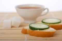 Tè e panini della prima colazione Fotografie Stock