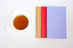 Tè e taccuino Immagini Stock