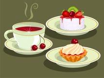 Tè e torta. Fotografia Stock