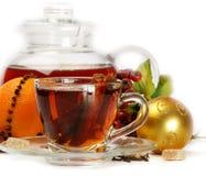 Tè ed arancio di natale Fotografia Stock