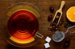 Tè ed ingredienti rossi Fotografie Stock Libere da Diritti